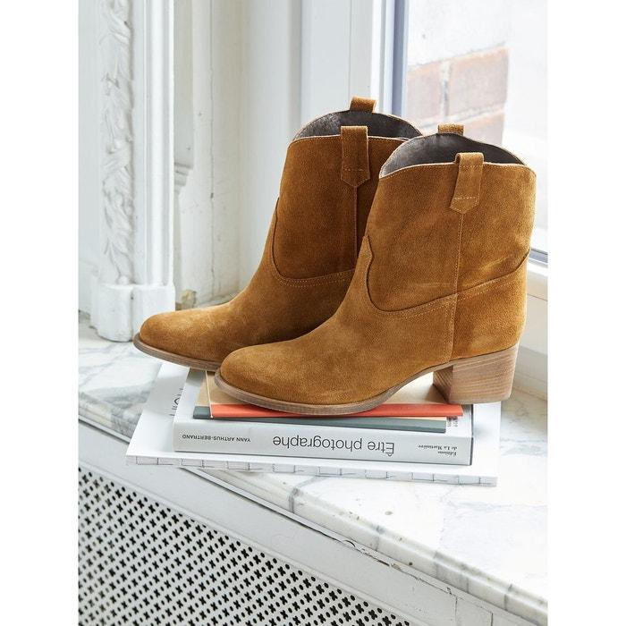 Mi cuir bottes velours en CYRILLUS femme zqTwP7R