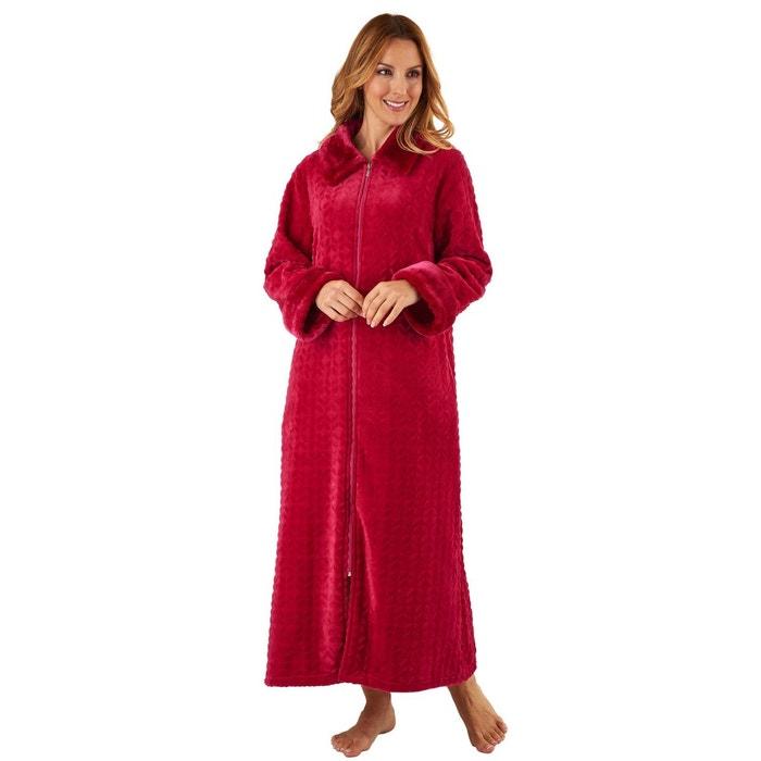 robe de chambre longue couleur unie rouge cerise slenderella   la