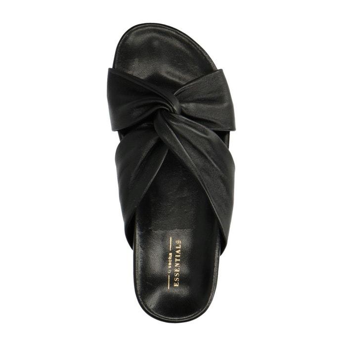 a2b3ba0ea9e Claquettes en cuir noir Sacha - azrealtybuyer.com