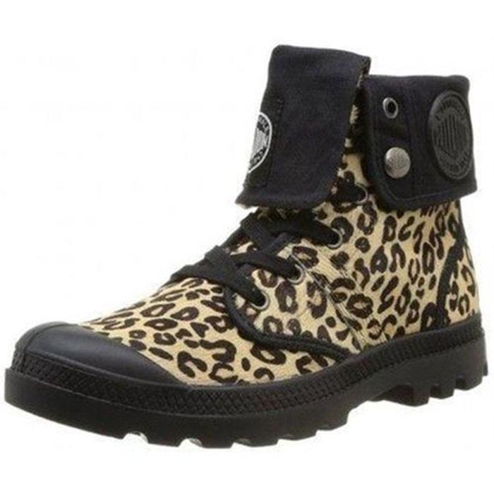 Boots femme cuir montantes ranger emb palladium leopard  noir P-L-D-M-By Palladium  La Redoute