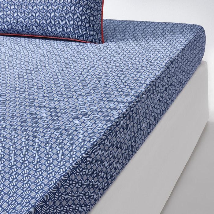 Drap housse en satin de coton bleu keitaki la redoute for Drap housse en satin