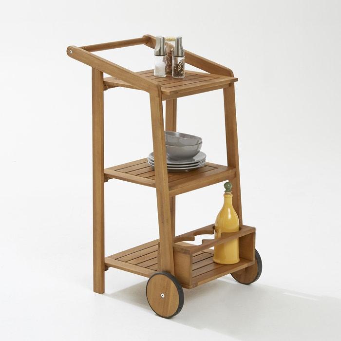 afbeelding Roltafel met 3 legplanken + 1 flessenhouder in hout van acacia La Redoute Interieurs