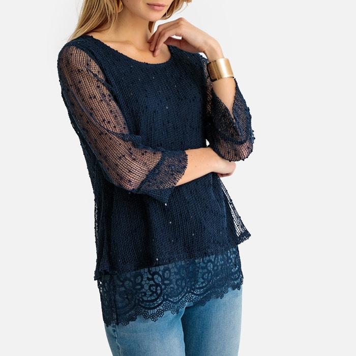 Trui in fijn tricot, 2 stoffen  ANNE WEYBURN image 0