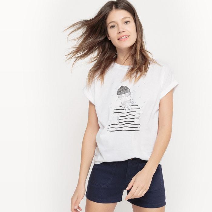 Imagen de Camiseta marinera de algodón, cuello redondo La Redoute Collections