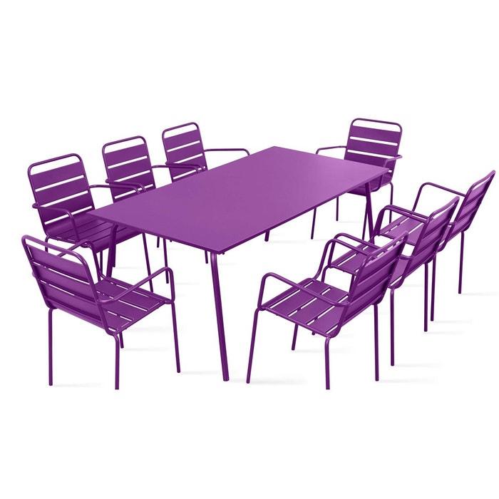Table de jardin et 8 fauteuils en m tal oviala la redoute for Chaise a trou