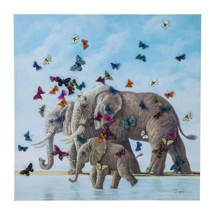 tableau touched elephants with butterflys 120x120cm kare design multicolore kare design la redoute. Black Bedroom Furniture Sets. Home Design Ideas