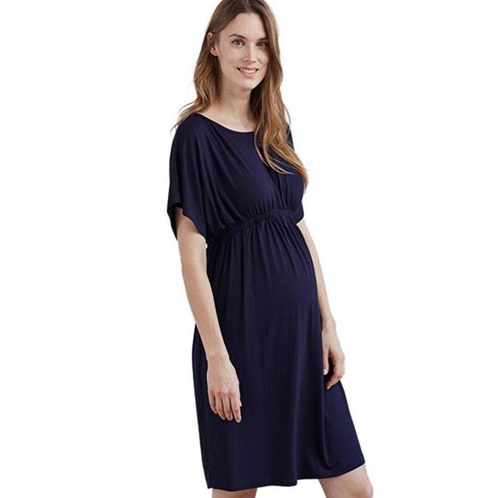 730dfce52b Robe fluide de grossesse manches courtes bleu marine Isabella Oliver   La  Redoute