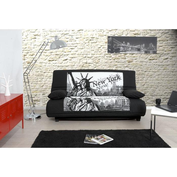 banquette lit clic clac city matelas mousse pillotech by dunlopillo noir noir relaxima la. Black Bedroom Furniture Sets. Home Design Ideas