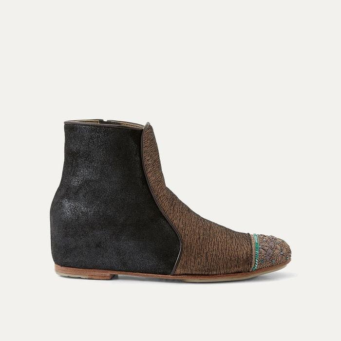 Boots cuir marron or Meher Kakalia Prix Bon Marché Authentique fU12HAL0b