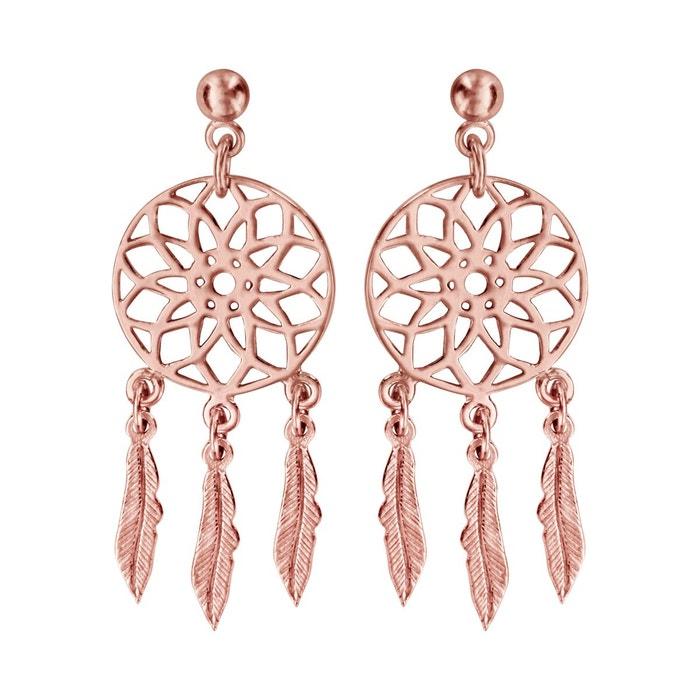Boucles d'oreilles rose attrape rêves plaqué or 750 couleur unique So Chic Bijoux | La Redoute Vente Pas Cher Nice Coût De Sortie hwq2P