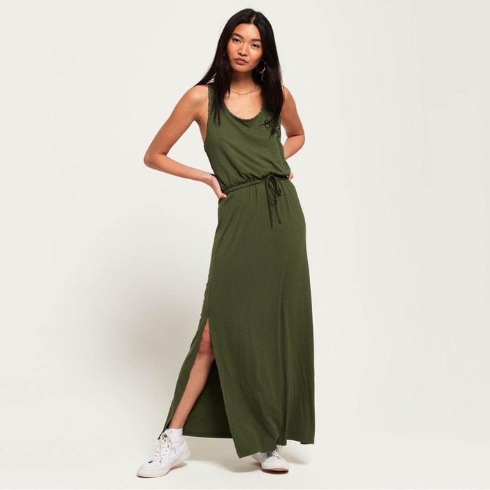 b0c076527cc8fa Lange jurk met sportuitsnijding aztec donker kaki Superdry