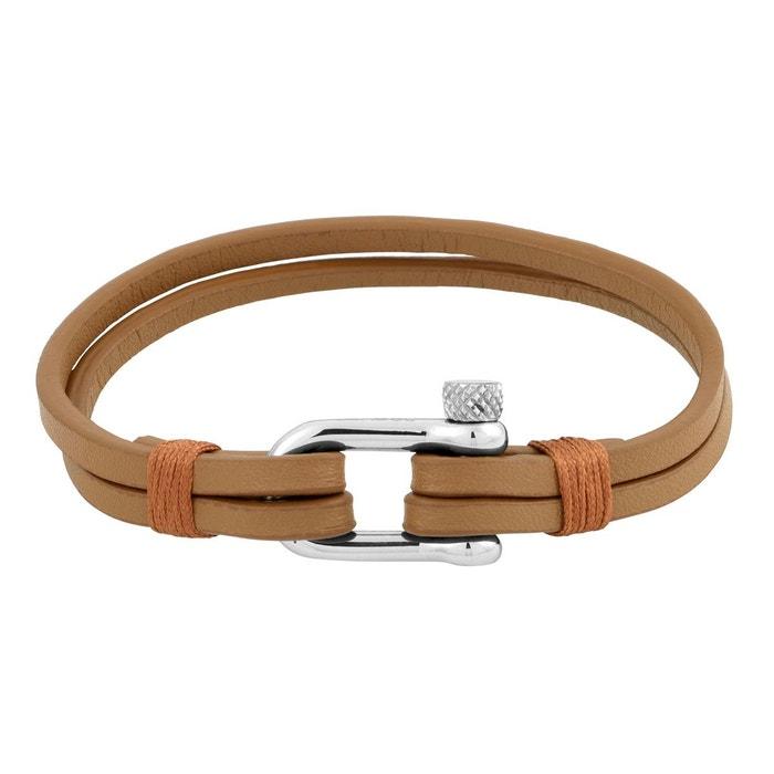 Bracelet en cuir marron et acier argente Rochet | La Redoute Réduction De 100% Garanti xatuC