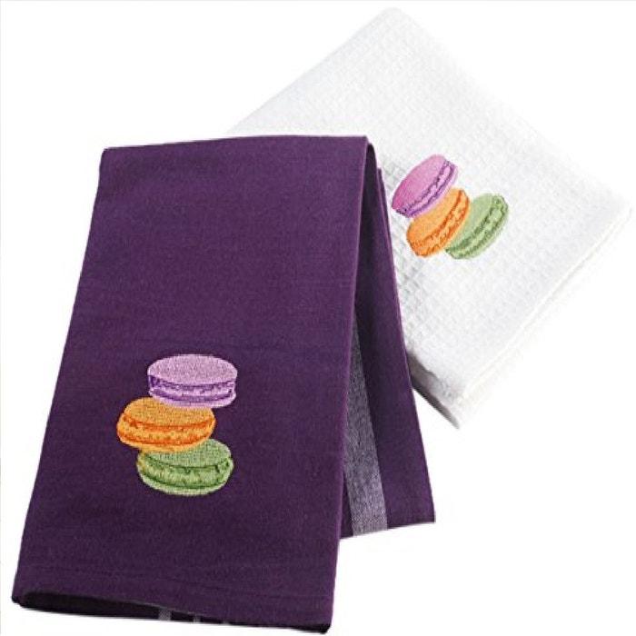2 serviettes torchons 50 x 70 cm macaron prune et blanc couleur unique douceur d 39 int rieur la. Black Bedroom Furniture Sets. Home Design Ideas