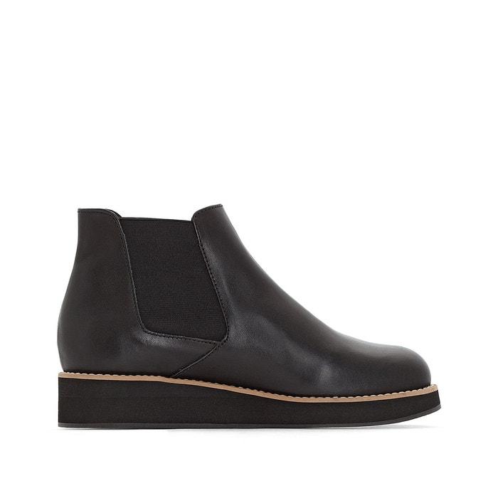 Chelsea cuir compensées   noir La Redoute Collections   La Redoute