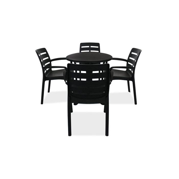 Table de jardin ronde en plastique et 4 fauteuils gris Oviala | La ...