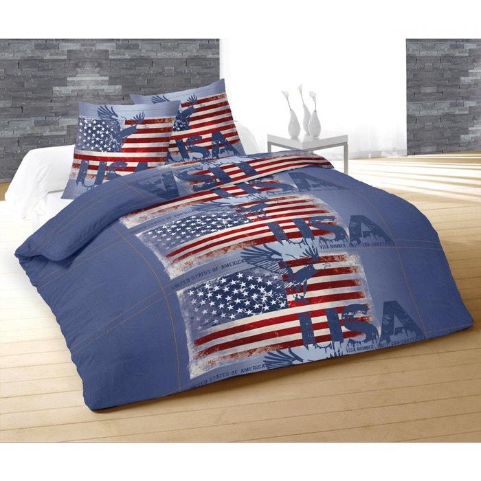 parure de lit usa jeans bleu 240x220 terre de nuit bleu terre de nuit la redoute. Black Bedroom Furniture Sets. Home Design Ideas