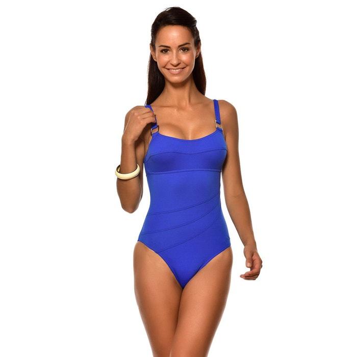7452c494460 Maillot de bain une piece pour femme allure lavandou uni gitane bleu Livia