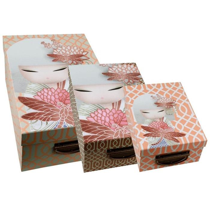 3 boites de rangement en carton kimmidoll couleur unique for Decoration chambre kimmidoll