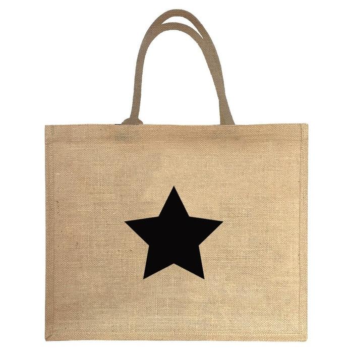 54b29f3eb4 Sac cabas en jute motif étoile noir beige Les Griottes | La Redoute
