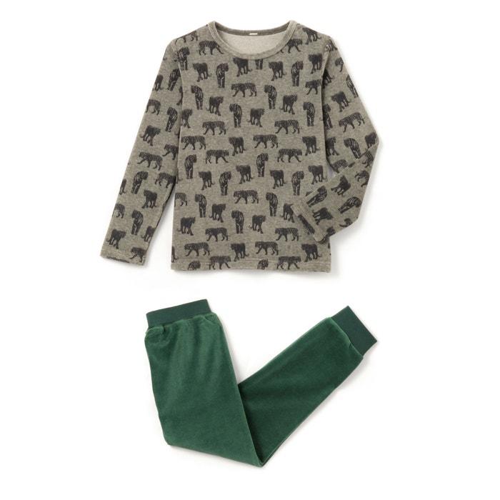 """afbeelding Pyjama in fluweel met ''tijger"""" print abcd'R"""