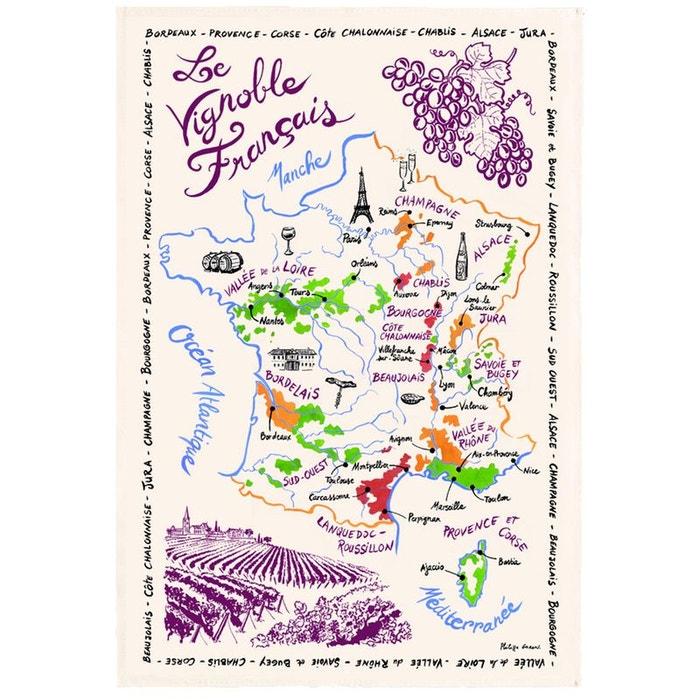 Torchon la carte des vins de france ecru Torchons Et Bouchons | La Redoute