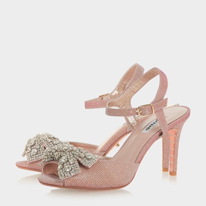 Sandales style escarpins ouverts avec n-ud orné de bijoux - martee rose pâle synthétique Dune London