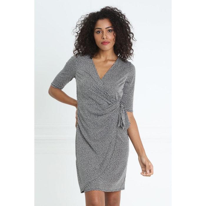115287e2775c La Noir Breal Nouée Drapée Redoute Robe Ajustée Taille Courte Imprf PRwqY8