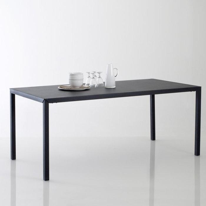 Hiba 6 seater dining table in matt black metal black la - Table cuisine la redoute ...