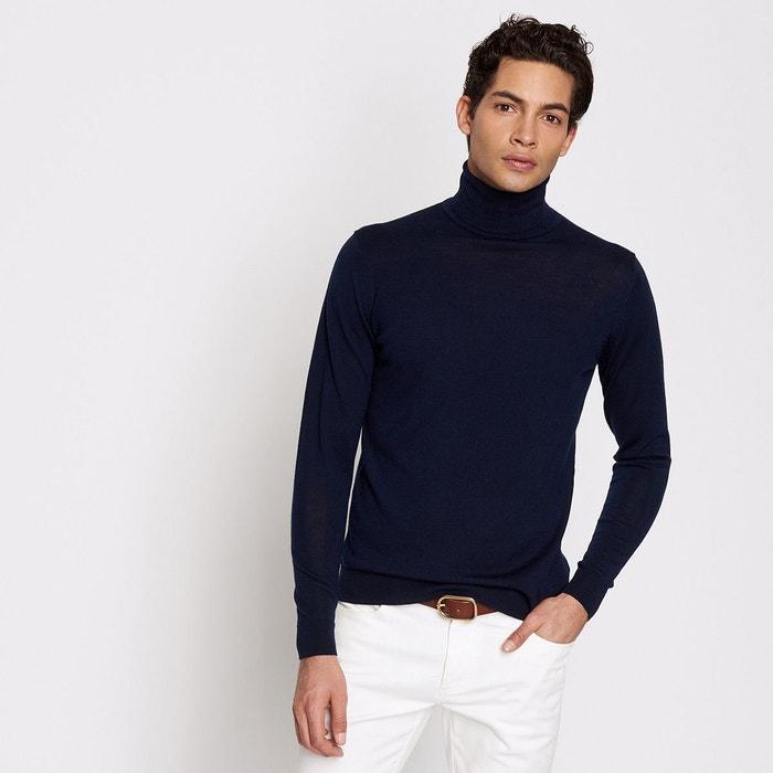 Pull homme col roulé laine mérinos bleu marine Devred   La Redoute 505bfb95ae91