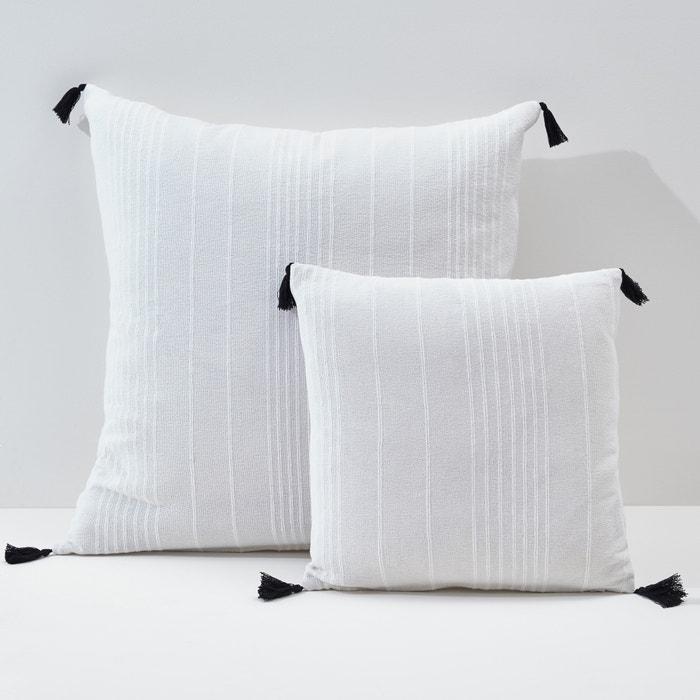 Capa de almofada pequena ou grande, lisa, com pompons, Riad La Redoute Interieurs