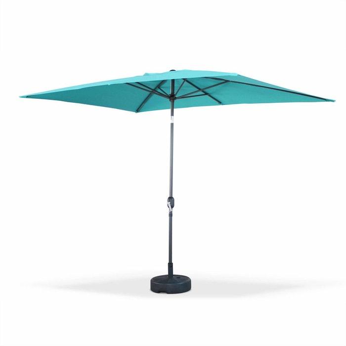 parasol droit touquet rectangulaire 2x3m turquoise m t central aluminium orientable et. Black Bedroom Furniture Sets. Home Design Ideas