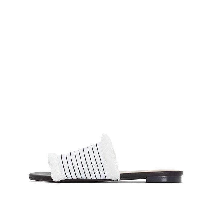 Mules bande rayée détail franges blanc/noir La Redoute Collections