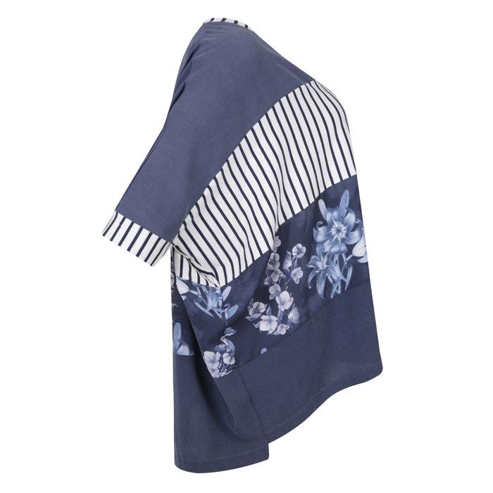 corta FASHION de cuello con MAT Blusa estampada manga redondo 8wzSqpnUx