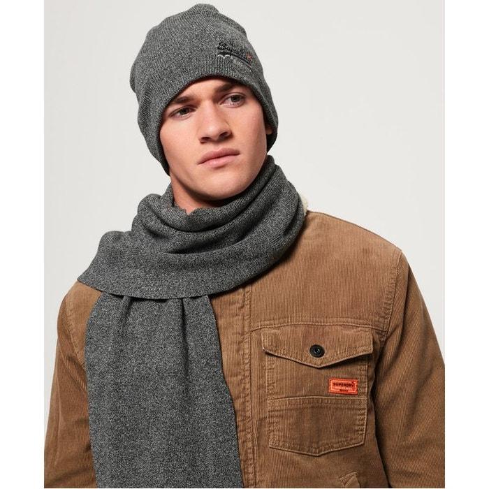 fe0ac97e325 Ensemble écharpe et bonnet orange label poussière gris foncé Superdry