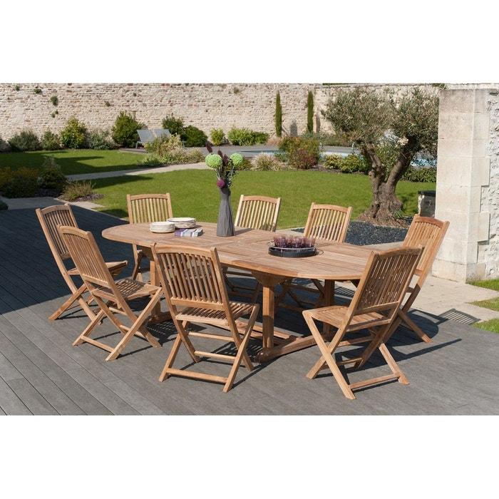 Salon de jardin table d\'extérieur extensible ovale 200/300cm 8 chaises  pliantes en bois de teck SUMMER