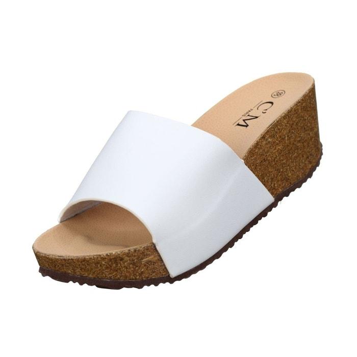 Sandale compensee à enfiler blanc Leader Mode
