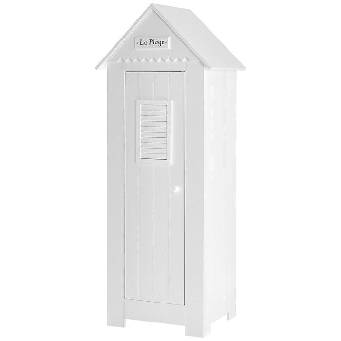 Armoire cabine de plage une porte blanche en mdf blanc for Petite armoire de chambre