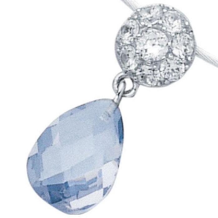 285049cfe Pendentif Joaillerie Goutte Blanc & Bleu 25 mm Argent 925 (Vendu seul: sans  collier câble présenté)