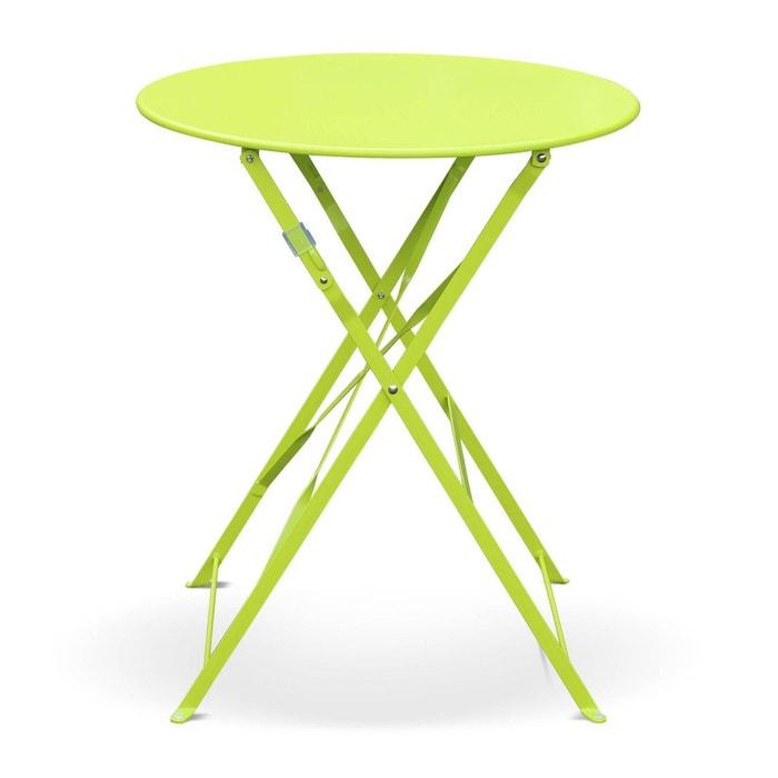 table de jardin bistrot pliable emilia ronde verte table ronde 60cm en acier thermolaqu - Table Ronde Jardin