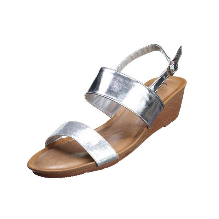 Sandale compensee à lanières gris Leader Mode