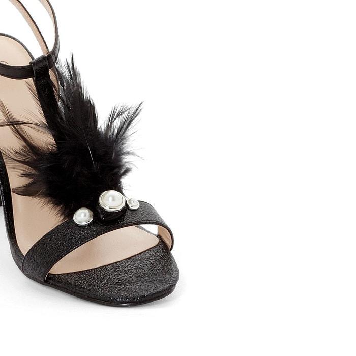 Sandales détail plume noir La Redoute Collections