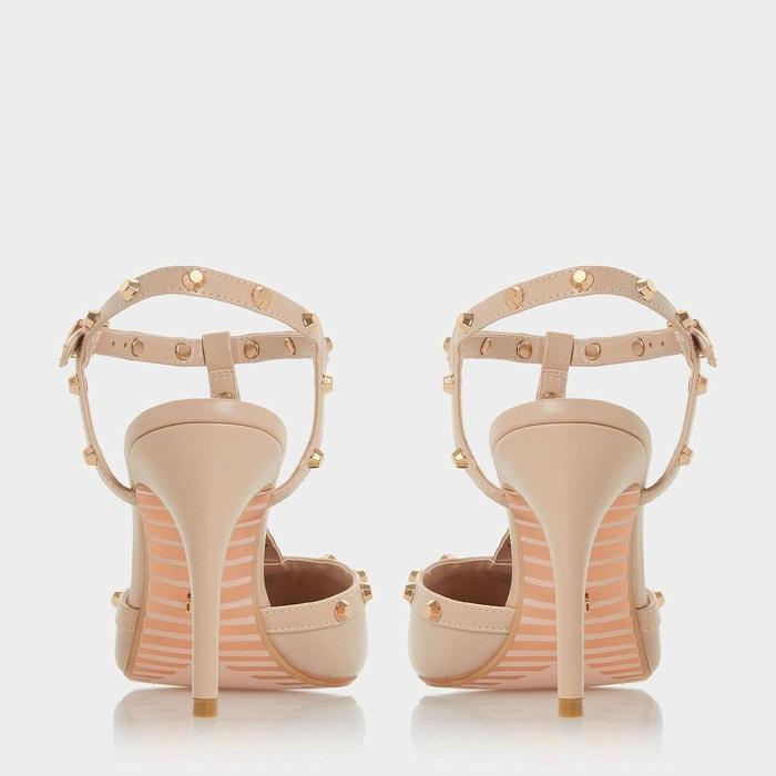 Escarpins style salomé cloutés ouverts sur larrière - catelyn chair cuir Dune London