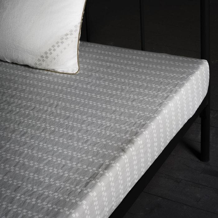 drap housse en lin lav imprim gris clair sam baron la redoute. Black Bedroom Furniture Sets. Home Design Ideas