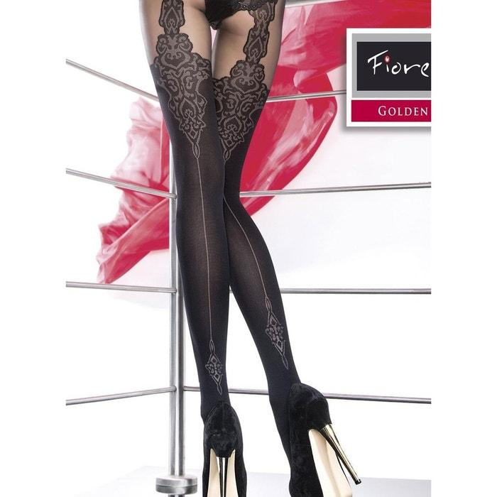 Collant couture 40 deniers motif baroque gladis noir Fiore  0c797b69177