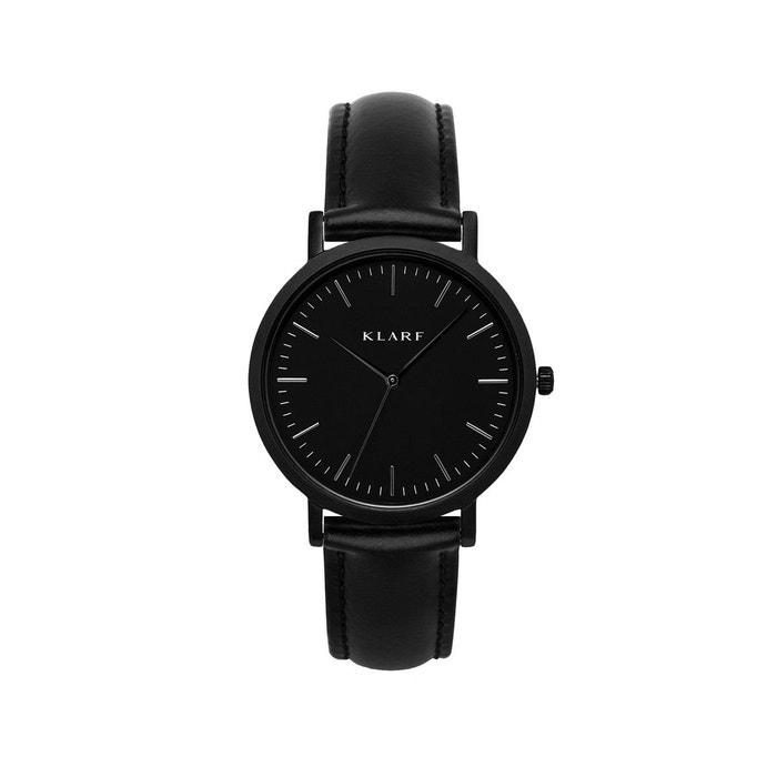 Acheter Pas Cher Prix Incroyable Parcourir En Ligne Pas Cher Classic black leather montre noir Klarf | La Redoute W4nsZtE