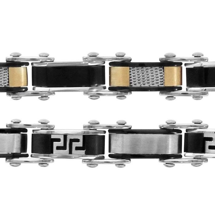Bracelet 20 cm longueur réglable double fermoir réversible 5,7 mm maille lisse jaune quadrillage motif grec acier inoxydable couleur unique So Chic Bijoux | La Redoute