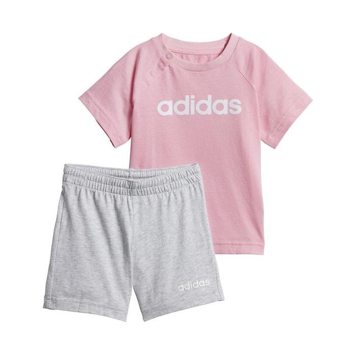 5541cf84ddddc Ensemble 2 pièces short + t-shirt 3 mois - 4 ans rose gris Adidas ...