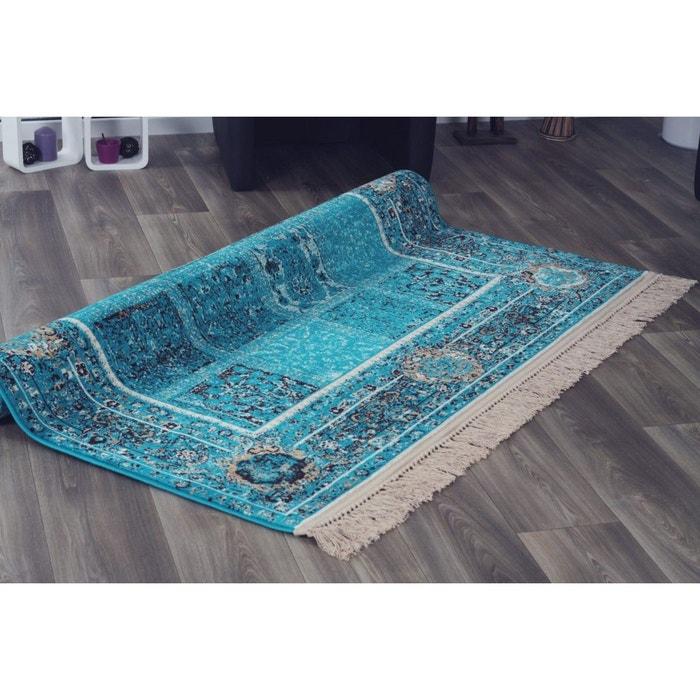 Tapis Avec Franges Turquoise Style Orient Vizca Turquoise Allotapis