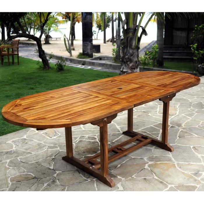 Table de jardin en teck pour 10 personnes - table ovale marron Wood ...