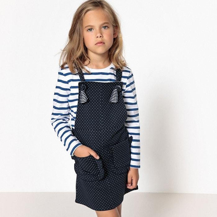 8c57c2007eda0 Ensemble t-shirt et robe à pois 3-12 ans rayé bleu marine La Redoute  Collections